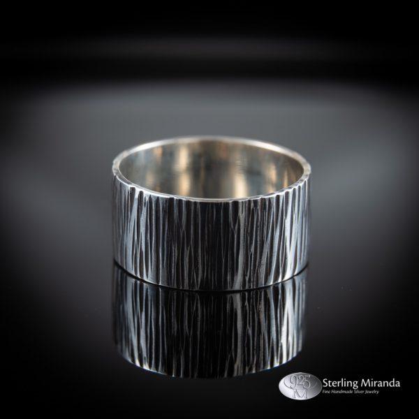 Brede zilveren ring, Gehamerde ring, Boomschors motief, Handgemaakt, Handmade, Zilver, Sterling, 925