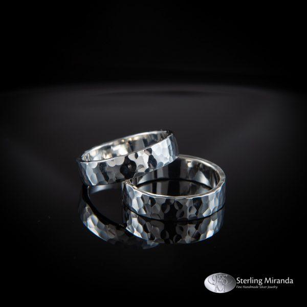 Zilveren ringen, gehamerde ringen, verlovingsringen, Handgemaakt, Handmade, Zilver, Sterling, 925
