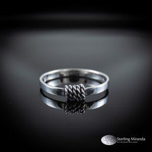 Smalle zilveren ring, gevlochten knoop, Handgemaakt, Handmade, Zilver, Sterling, 925