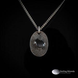 925, sterling, zilver, zilverenhanger, sterlingzilver, steen, hematiet, handgemaakt, handmade